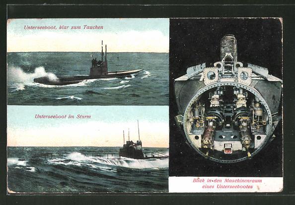 AK U-Boot klar zum Tauchen, Unterseeboot im Sturm, Blick in Maschinenraum