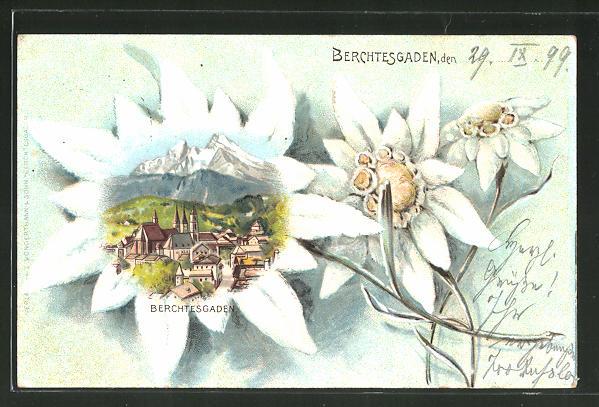 Passepartout-Lithographie Berchtesgaden, Ortsansicht im Edelweiss
