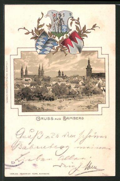 Passepartout-Lithographie Bamberg, Ortsansicht aus der Vogelschau, Wappen