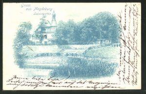 AK Magdeburg, Blick in den Luisengarten