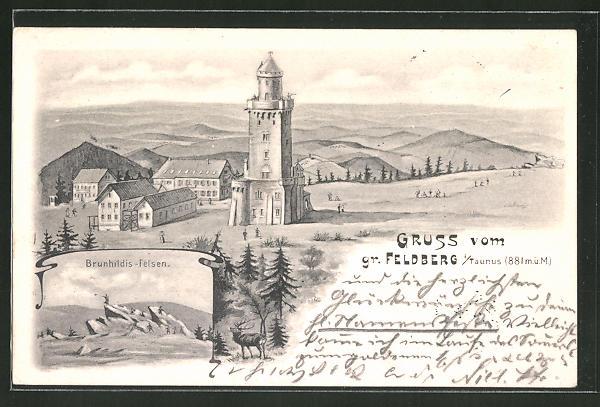 Künstler-AK Feldberg, Aussichtsturm auf dem grossen Feldberg mit Brunhildisfelsen