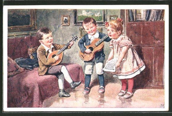 Künstler-AK Karl Feiertag: musizierende Kinder