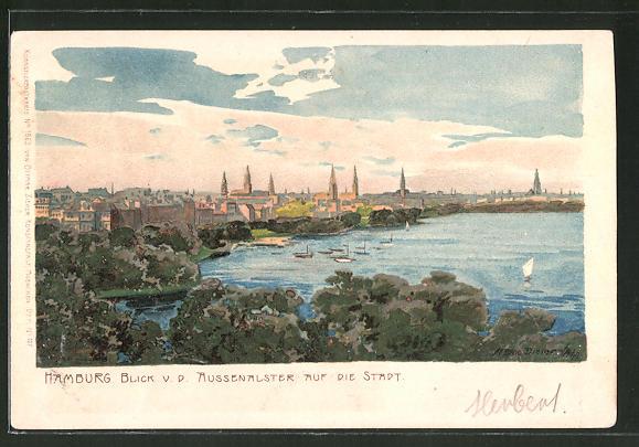 Künstler-Lithographie Zeno Diemer: Hamburg, Blick von der Aussenalster auf die Stadt
