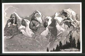 AK Eiger, Mönch und Jungfrau, Berg mit Gesicht / Berggesichter
