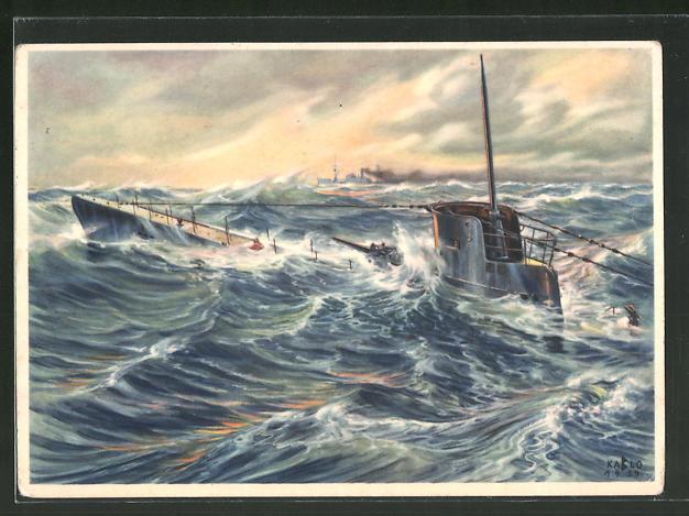 Künstler-AK K. Blossfeld: Auftauchendes U-Boot