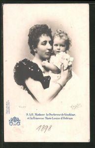 AK Madame la Duchesse de Vendôme et la Princesse Marie Louise d'Orléans