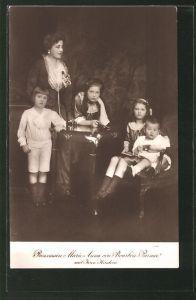 AK Prinzessin Maria Anna von Parma-Bourbon mit ihren Kindern