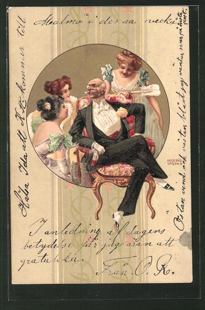 Künstler-Lithographie Richard Hegedüs-Geiger: Kavalier und drei Fräuleins