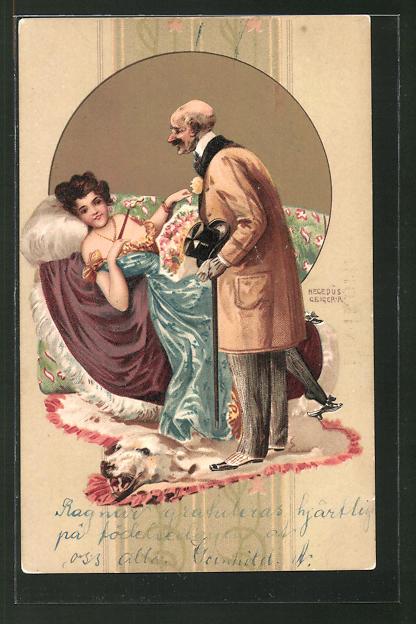 Künstler-Lithographie Richard Hegedüs-Geiger: älterer Herr und leichtes Mädchen