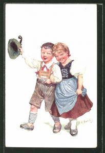 Künstler-AK Karl Feiertag: kleines Paar in Tracht
