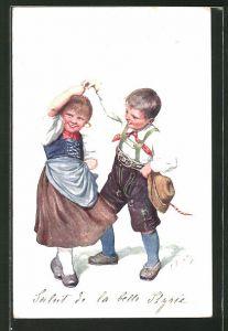 Künstler-AK Karl Feiertag: kleines tanzendes Paar in Tracht