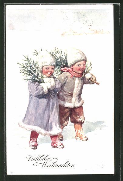 Künstler-AK Karl Feiertag: Fröhliche Weihnachten, Kinder mit Tannengrün