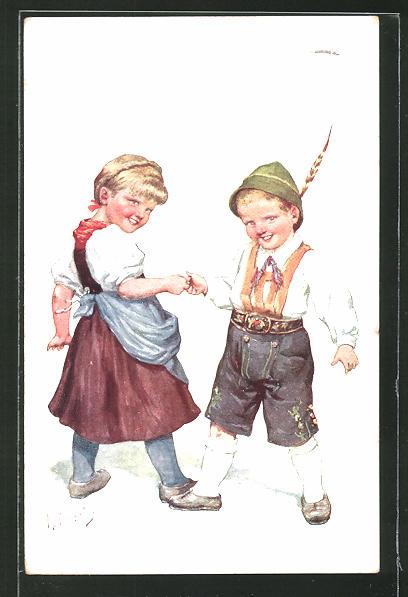 Künstler-AK Karl Feiertag: kleines Paar beim Fingerhakeln