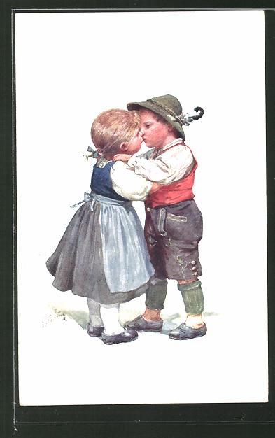 Künstler-AK Karl Feiertag: kleines Paar beim Kuss