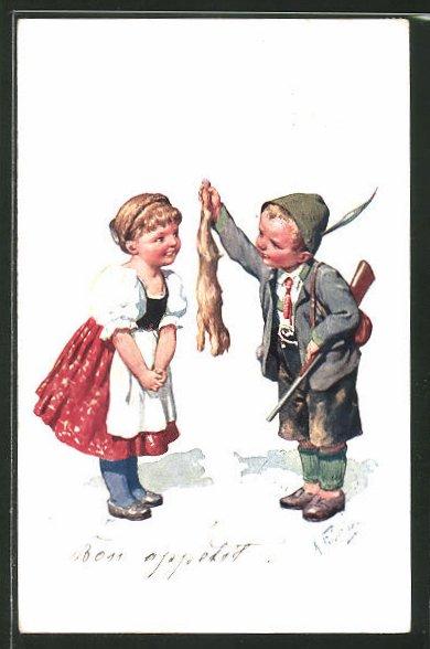 Künstler-AK Karl Feiertag: kleiner Jäger mit Kaninchen und Mädchen