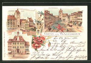 Lithographie Waldshut, Hauptstrasse, Unteres Thor, Rathaus
