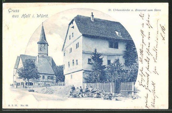 AK Hall, St. Urbanskirche und Brauerei zum Stern