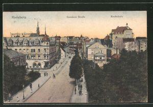 AK Radeberg, Dresdner Strasse mit Hotel Kaiserhof und Realschule
