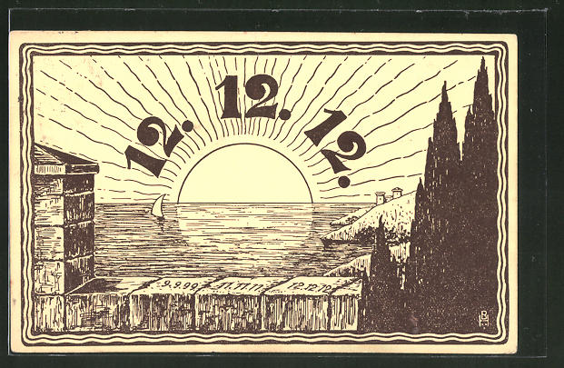 Künstler-AK Datum 12.12.12., aufgehende Sonne
