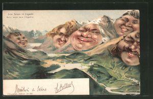 Lithographie Gute Saison im Engadin, grinsende Berggesichter
