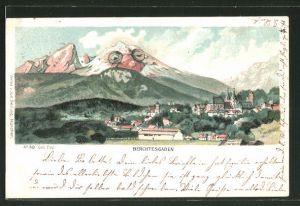 Lithographie Seiling Nr. 48, Berchtesgaden, Panorama mit Berggesicht, Berggesichter