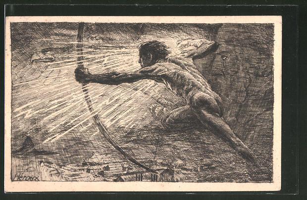 Künstler-AK Bruno Heroux: Erinn. a.d. Eröffnung d. Weltausst. f. Buchgewerbe u. Graphik, 1914, Ganzsache PP27 C249 /01