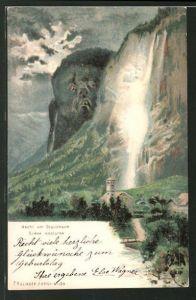 Künstler-AK Kilinger Nr. 124: Nacht am Staubbach, Scène nocturne, Berg mit Gesicht / Berggesichter