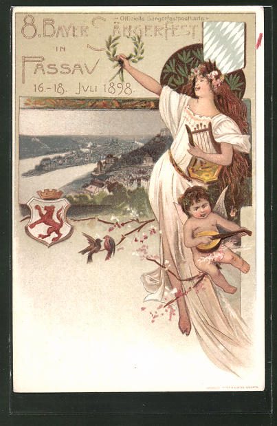 Lithographie Passau, Ganzsache Bayern PP15 C8 , 8. Bayr. Sängerfest 1898, Frau mit Harfe u. Engel mit Mandoline