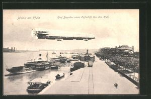AK Mainz, Graf Zeppelins neues Luftschiff über dem Rhein