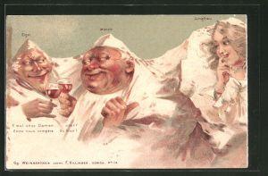 Lithographie Killinger Nr. 114, Eiger, Mönch, Jungfrau, E mal ohne Damen..., Berggesichter