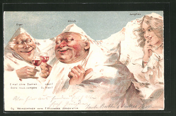 Lithographie Killinger Nr. 114, Eiger, Mönch, Jungfrau, E mal ohne Damen..., Berge mit Gesicht / Berggesichter