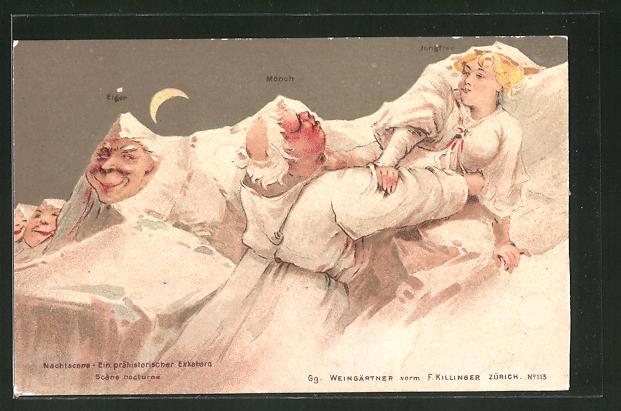 Lithographie Killinger Nr. 113, Eiger, Mönch, Jungfrau, Nachtscene..., Berggesichter