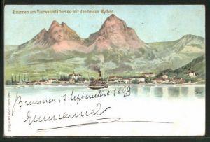 Lithographie Brunnen am Vierwaldstättersee mit den beiden Mythen, Berggesichter