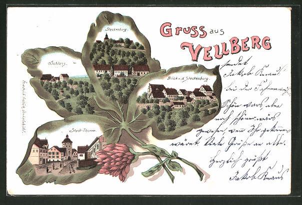 Passepartout-Lithographie Vellberg, Stadt-Thurm, Schloss, Steckenburg, Kleeblatt