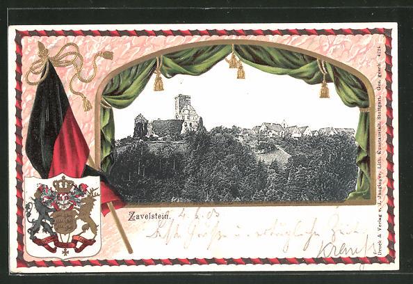 Präge-Passepartout-Lithographie Zavelstein, Panorama, Wappen und Fahne