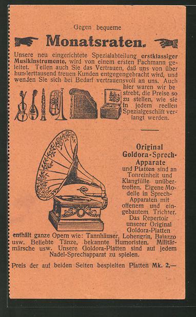 AK Berlin-Kreuzberg, Jonass & Co, Belle -Alliance Str. 3, Original Goldora-Sprech-Apparate, Grammophon