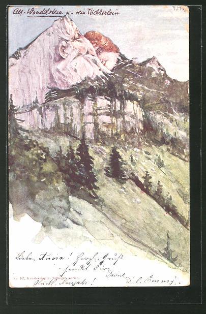 Künstler-Lithographie Fritz Hass: Killinger Nr. 147, Alt-Wendelstein und sein Töchterlein, Berggesichter