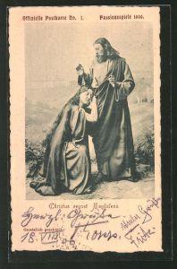 AK Passionsspiele 1900, Christus segnet Magdalena, Ganzsache Bayern PP15 /C29 /01
