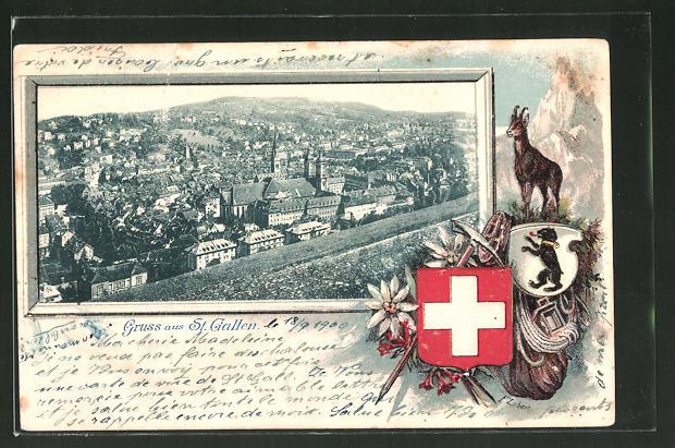 Präge-Passepartout-Lithographie St. Gallen, Panorama und Wappen