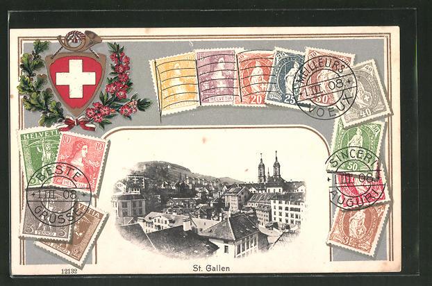Präge-Passepartout-AK St. Gallen, Teilansicht und Briefmarken