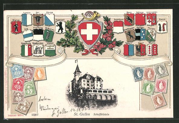 Präge-Passepartout-Lithographie St. Gallen, Scheffelstein, Kantonwappen und Briefmarken