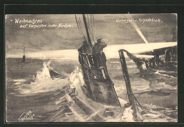 Künstler-AK K. Blossfeld: Weihnachten auf Vorposten in der Nordsee, U-Boot und Torpedoboote