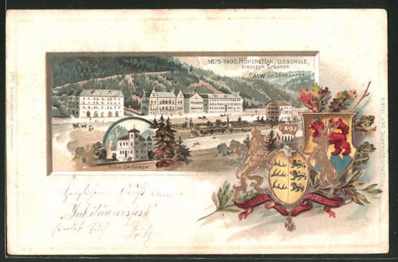 Präge-Passepartout-Lithographie Calw, Höhere Handelsschule, Director Spöhrer, Villa Spöhrer, Wappen