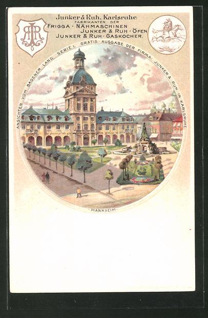 Lithographie Mannheim, Junker & Ruh, Karlsruhe, Frigga - Nähmaschinen, Öfen und Gaskocher