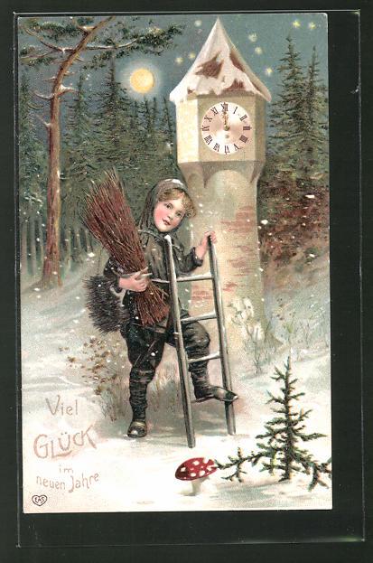 Präge-AK Schornsteinfeger mit Glückwünschen für das neue Jahr