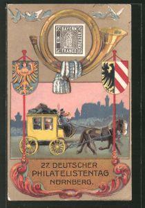 Künstler-AK Nürnberg, 27. Deutscher Philatelisten-Tag 1921, Ganzsache 10 Pfennige