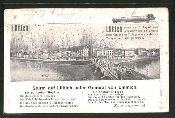 AK Lüttich, Sturm auf Lüttich unter General von Emmich, Motiv mit Luftschiff