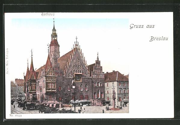 Goldfenster-AK Breslau, Rathaus mit leuchtenden Fenstern und weitere Gebäude