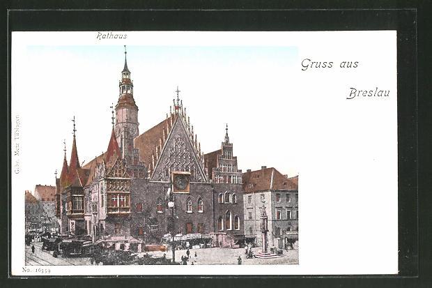Goldfenster-AK Breslau, Rathaus mit leuchtenden Fenstern und Marktbuden