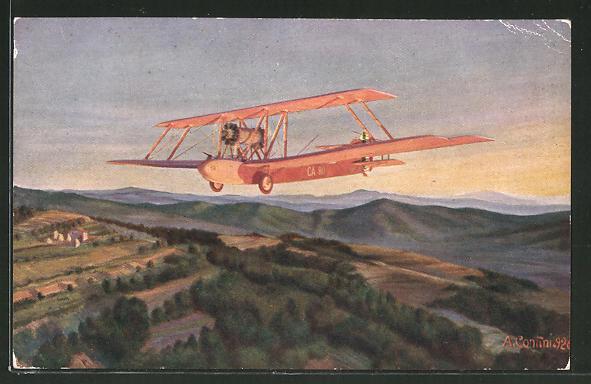 Künstler-AK Il Volo di un Caproni, Italienisches Flugzeug